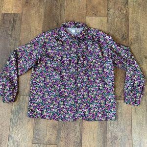 Vintage 90s purple rose button down blouse top